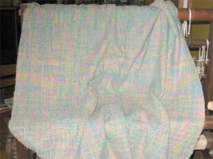 Completed handwoven baby blanket