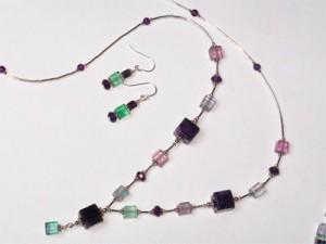 Fluorite & Amethyst Necklace & Earrings