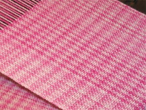 pink handwoven scarf