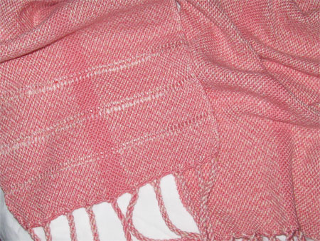 handwoven scarf, coral bamboo