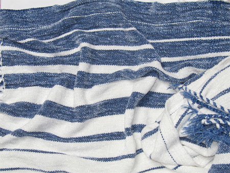 handwoven rayon chenille shawl, blue & white