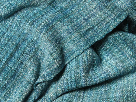 handwoven rayon chenille scarf, ocean waves