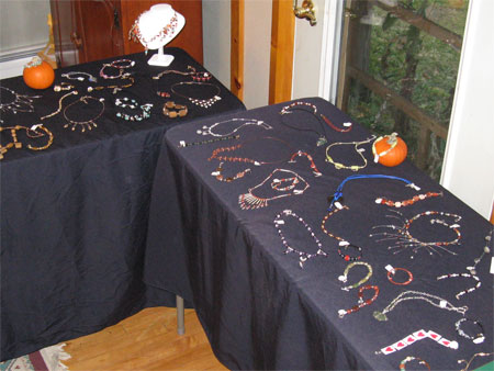 handcrafted jewelry in the dining room
