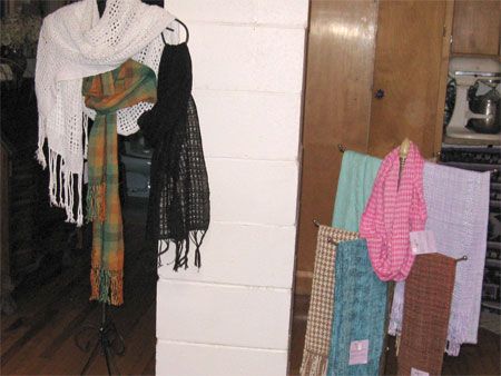 handwoven scarves in the kitchen