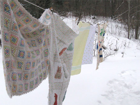 baby blankets on the clothesline