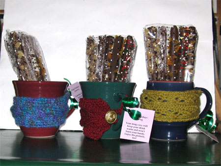knitted mug cozies and dipped pretzels