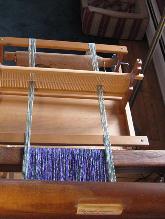 rigid heddle loom as a supplementary warp beam, top view