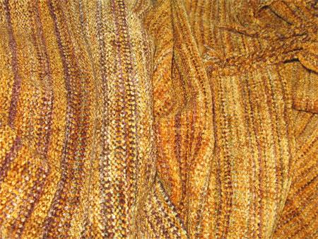handwoven rayon chenille scarf, cappucino