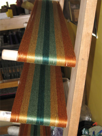fall rayon yarn on warping board