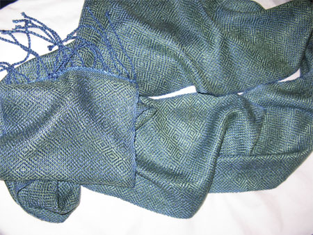 blues & greens rayon scarf