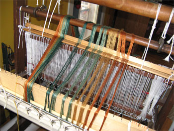rayon threads on loom