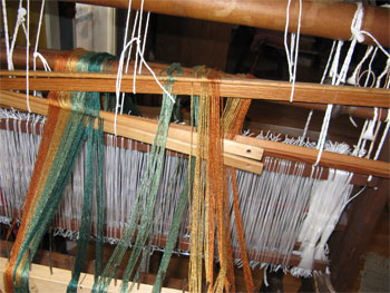 rayon threads on 3 lease sticks