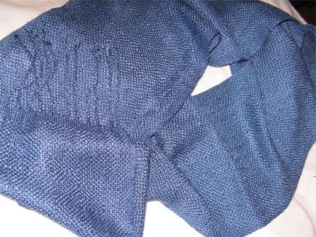 blue rayon scarf, shadow weave