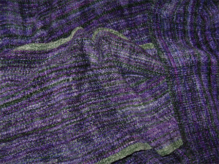 handwoven rayon chenille scarves in Visionary & green