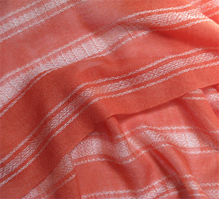handwoven cashmere & silk scarves, creamsicle