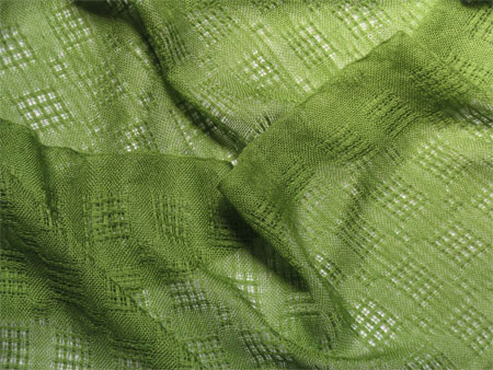 handwoven cashmere & silk scarves; green huck lace