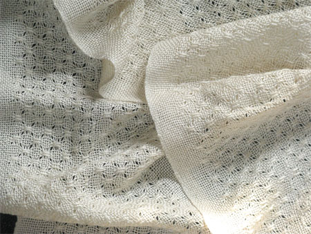 handwoven lace scarf, eggshell