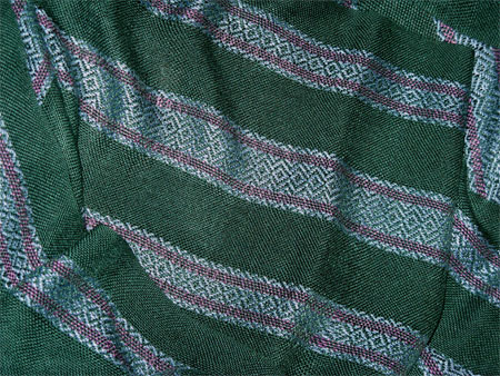 handwoven rayon scarves, green stripes