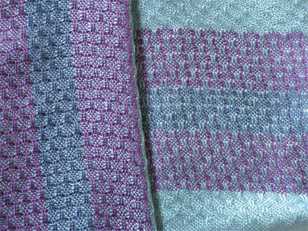 gemtone huck lace scarves, front & back