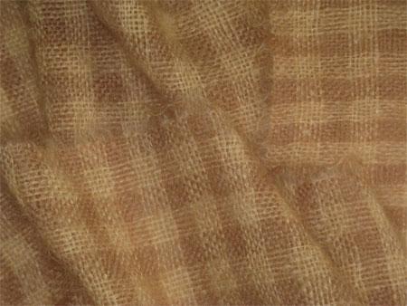 handwoven mohair scarf, tan checks