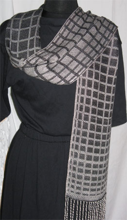 black blocks handwoven bamboo scarves