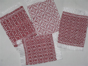 handwoven mug rugs, dark dusty rose