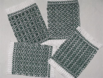 handwoven mug rugs, forest green