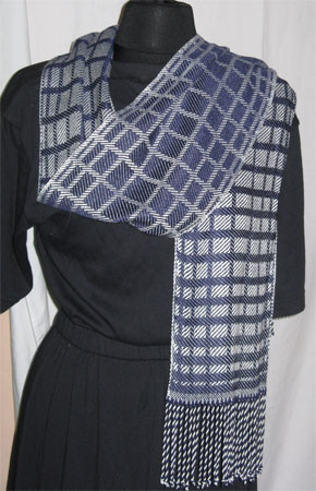 navy and white handwoven bamboo scarf
