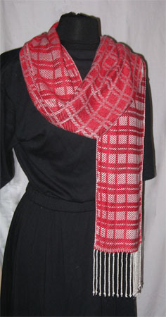 red and white handwoven bamboo scarf