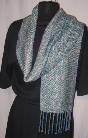 handwoven rayon scarf, rick rack & frost