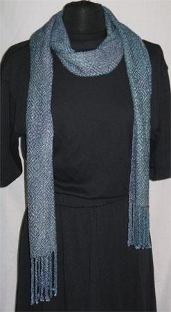 handwoven rayon scarf, rick rack & navy