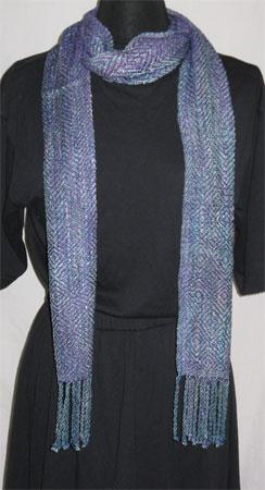 handwoven rayon scarf, rick rack & purple