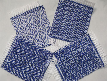 handwoven mug rugs, royal blue