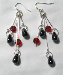 black & red dangle earrings