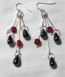 black & red dangle earrings