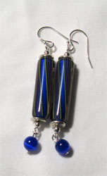 blue cane earrings