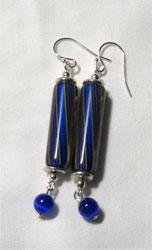 blue cane earrings