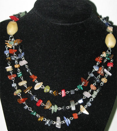 gemstone chip triple necklace