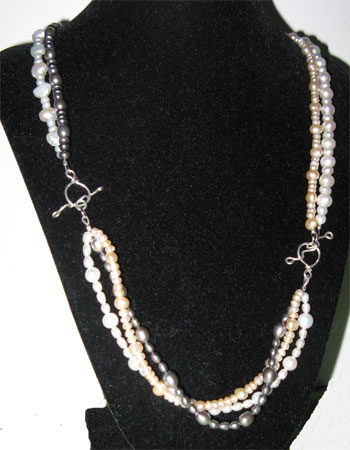 triple pearls necklace, long