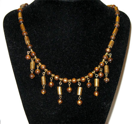 gold coral dangles necklace