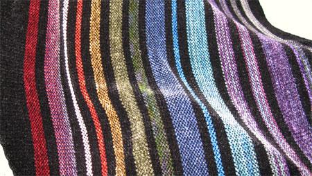 handwoven rainbow rayon chenille shawl