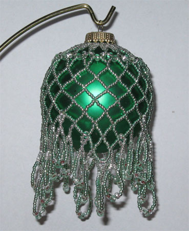 pale green fancy netting Victorian Christmas ornament