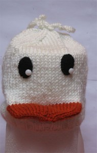 knitted duck hat