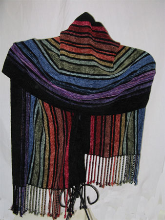 rainbow shawl on rod man