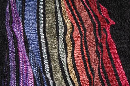 rainbow shawl laid flat