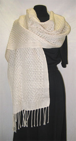 handwoven shawl, cotton lace