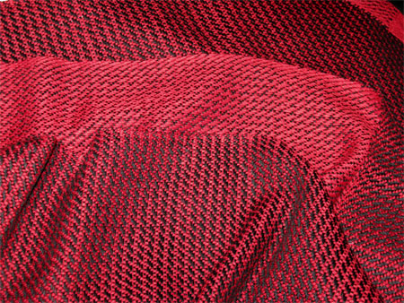handwoven scarf, red & black bamboo