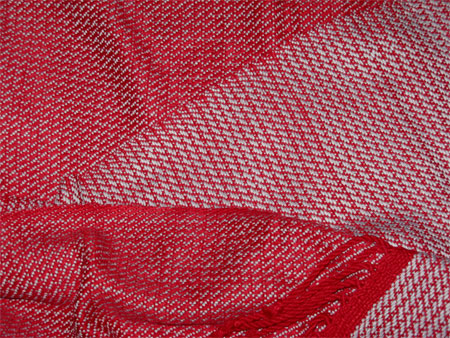 handwoven scarf, red & gray bamboo