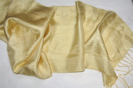 gold handwoven silk scarf