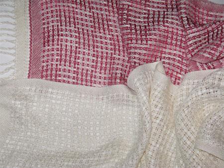 handwoven scarves, huck lace checkerboard